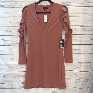 NWT Express ruffle sleeved mini sheath dress (R1